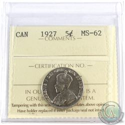 1927 Canada 5-cent ICCS Certified MS-62