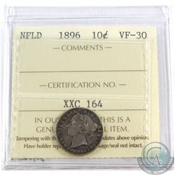 1896 Newfoundland 10-cent ICCS Certified VF-30