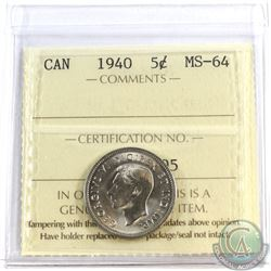 1940 Canada 5-cent ICCS Certified MS-64