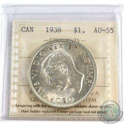 1938 Canada Silver $1 ICCS Certified AU-55