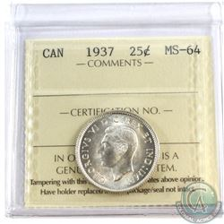 1937 Canada 25-cent ICCS Certified MS-64
