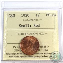 1920 Canada 1-cent Small ICCS Certified MS-64 Red