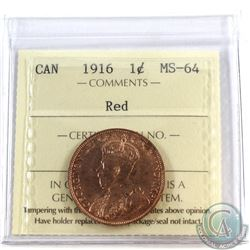 1916 Canada 1-cent ICCS Certified MS-64 Red