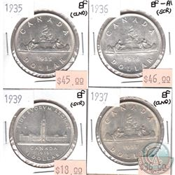 Lot of Canada Silver $1 - 1935 EF, 1936 EF-AU, 1937 EF & 1939 EF (coins are scratched or cleaned). 4