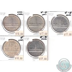 Lot of 1939 Canada Silver $1 in Circ to EF-AU (coins have various impairments). 5pcs