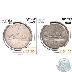 1937 Canada Silver $1 VF-EF (scratched) & 1937 2x HP VF-EF (Impaired). 2pcs