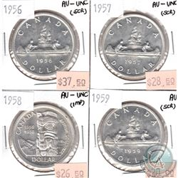 Lot of 1956-1959 Canada Silver $1 AU or AU-UNC (coins are scratched or impaired). 4pcs