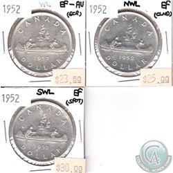 Lot of 1952 Canada Silver $1 EF or EF-AU. You will receive the Varieties WL, NWL & SWL. 3pcs