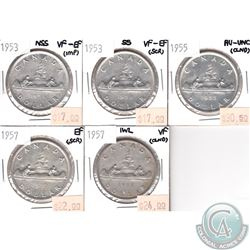 Lot of 1953-1957 Canada Silver $1 VF to AU-UNC (coins have various impairments). 5pcs
