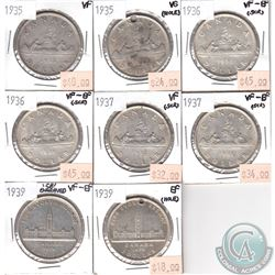 Lot of 1935-1939 Canada Silver $1 VG to EF (coins have various impairments). 8pcs