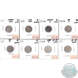 Lot of 1870-1907 Canada 5-cent AG to VF-EF (coins have various impairments). 8pcs