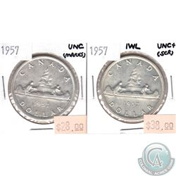 1957 Canada Silver $1 UNC (Marks) & 1957 Silver $1 IWL UNC+ (scratched). 2pcs