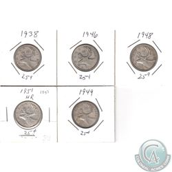 Estate Lot of Canada 25-cent Dated 1938, 1946, 1948, 1949 & 1951. 5pcs