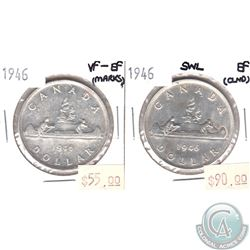 1946 Canada Silver $1 VF-EF (Marks) & 1946 Silver $1 SWL EF (Cleaned). 2pcs