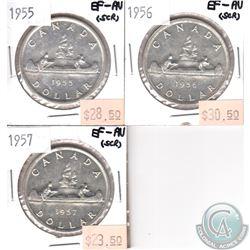 1955, 1956 & 1957 Canada Silver $1 EF-AU (scratched). 3pcs