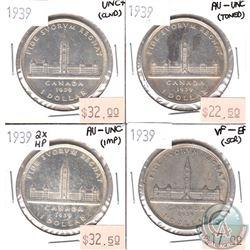 Lot of 1939 Canada Silver $1 - 1939 UNC+, 1939 AU-UNC, 1939 VF-EF & 1939 2xHP AU-UNC (coins have var