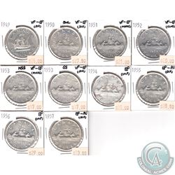 Lot of Canada Silver $1 Dated 1949-1957 VF-EF to EF-AU (coins have various impairments). 10pcs