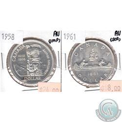 1958 & 1961 Canada Silver $1 AU (Various impairments). 2pcs