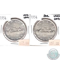 1954 Canada Silver $1 UNC & 1954 Silver $1 SWL UNC+. Coins are scratched. 2pcs