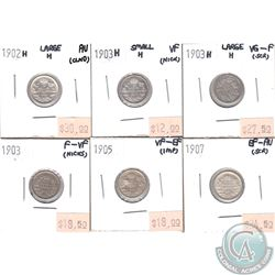 Lot of Canada 1902-1907 5-cent VG-F to AU (coins have various impairments). 6pcs