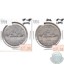 1951 Canada Silver $1 VF-EF (Nick) & 1951 Silver $1 SWL VF-EF (scratched). 2pcs