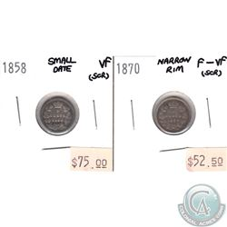 1858 Canada 5-cent Small Date VF (scratched) & 1870 5-cent Narrow Rim F-VF (scratched). 2pcs