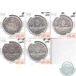 Lot of 1949-1955 Canada Silver $1 VF-EF to AU-UNC (coins have various impairments). 5pcs