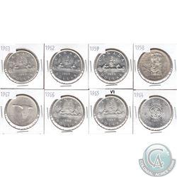 Estate Lot of 1958-1967 Canada Silver $1. 8pcs
