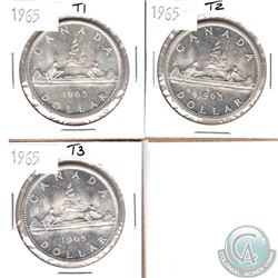 Lot of Canada 1965 Silver $1 - Type 1, 2 & 3 Varieties. 3pcs
