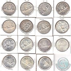 Estate Lot of 1953-1967 Canada Silver $1 in 2x2's. 15pcs
