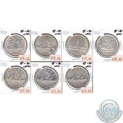 Lot of 1935-1952 Canada Silver $1 EF-AU (coins have various impairments). 7pcs