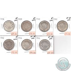 Lot of 1938-1946 Canada 50-cent VF or VF-EF (coins have various impairments). 7pcs