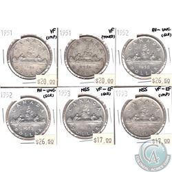 Lot of 1951-1953 Canada Silver $1 VF to AU-UNC (coins have various impairments). 6pcs