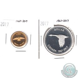 1967-2017 Canada Centennial Commemorative Silver $1 & Gold Plated 1-cent (TAX Exempt). 2pcs