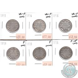 Lot of 1911-1936 Canada 25-cent VG-F to F-VF (coins have various impairments). 6pcs