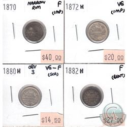 Lot of 1870-1882H Canada 5-cent VG to F (coins have various impairments). 4pcs