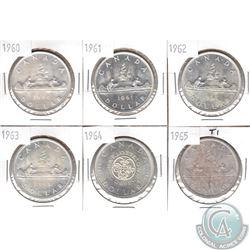 Estate Lot of 1960-1965 Canada Silver $1. 6pcs
