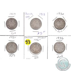 Estate Lot of 1917-1936 Canada 25-cent in 2x2's. 6pcs