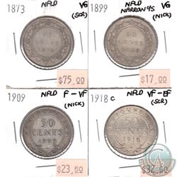Lot of 1873-1918C Newfoundland 50-cent VG to VF-EF (coins have various impairments). 4pcs