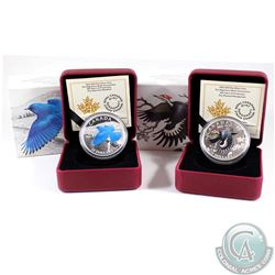 2016 Canada $20 Migratory Birds Convention - Mountain Bluebird & Pileated Woodpecker Fine Silver Coi