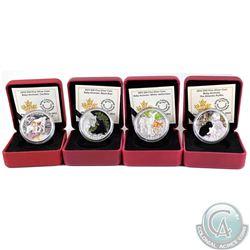 Lot of 4x 2014-2016 Canada $20 Baby Animals Fine Silver Coins - 2014 Atlantic Puffin, 2015 White-Tai