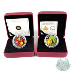 2013 Canada $20 Candy Cane (capsule lightly scratched) & 2014 $20 Water-lily and Leopard Frog Veneti