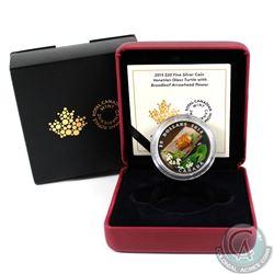 2015 Canada $20 Venetian Glass Turtle & Broadleaf Flower Fine Silver Coin (outer sleeve lightly worn
