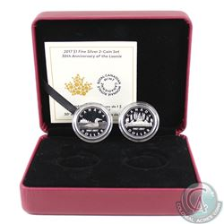2017 Canada $1 30th Anniversary of the Loonie Fine Silver 2-coin Set (missing outer sleeve). TAX Exe