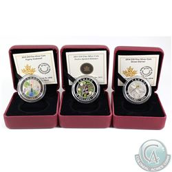 Lot of 2013-2015 Canada $10 Dragonfly Fine Silver Coins - 2013 Twelve-spotted Skimmer, 2014 Green Da