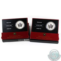 2005 Canada $5 1oz V-J Day & VE-Day Privy Mark Fine Silver Coins. 2pcs (TAX Exempt)