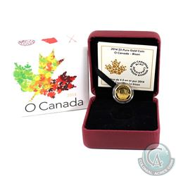 2014 $5 O Canada - Bison 1/10oz Pure Gold Coin (capsule is scratched). TAX Exempt