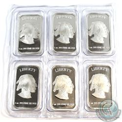 6x Liberty 1oz Fine Silver Buffalo Bars in original sealed packaging (Tax Exempt) 6pcs