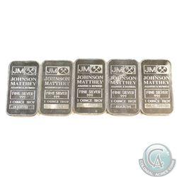 5x Johnson Matthey 1oz Fine Silver Bars (Tax Exempt) 5pcs.