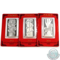 PAMP 2012 Dragon, 2013 Snake, 2014 Horse 1oz Fine Silver bars Sealed in original holders (Tax Exempt